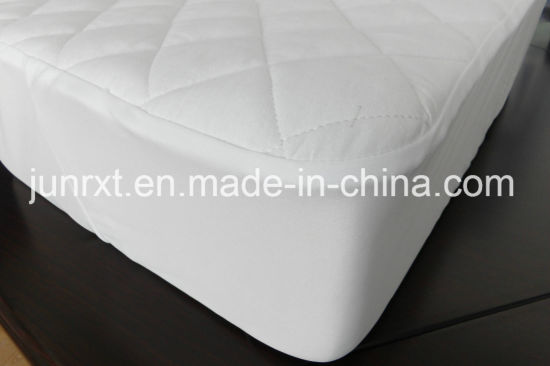 High Quality White Terry Cloth Bamboo Cotton Organic Waterproof Mattress Protector with White Knitted Fabric