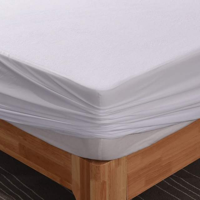 Terry cloth Waterproof Mattress Protector Hot selling 80% cotton 20% ploy terry cloth fabric laminated with TPU Waterproof Mattress Protector